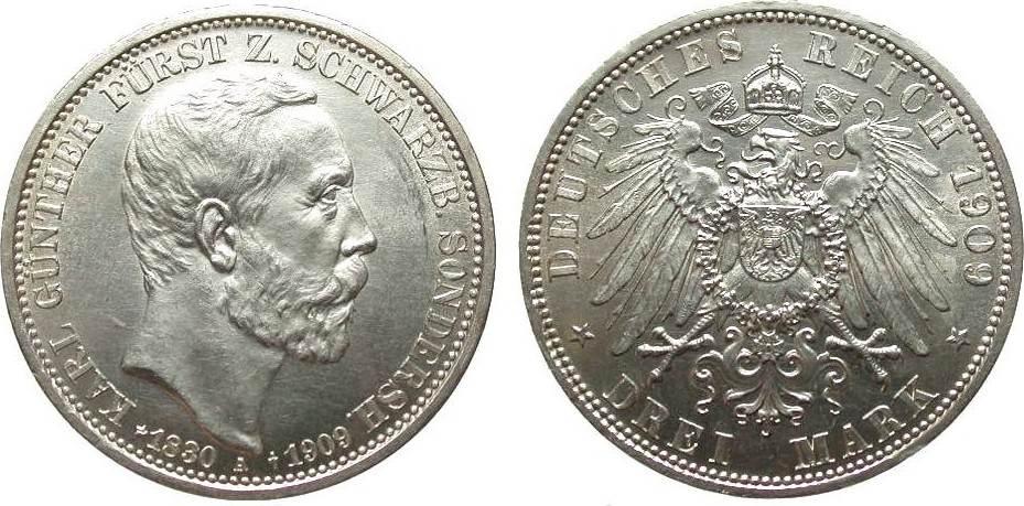 3 Mark Schwarzburg-Sondershausen 1909 A Kaiserreich wz. Kratzer, fast Stempelglanz