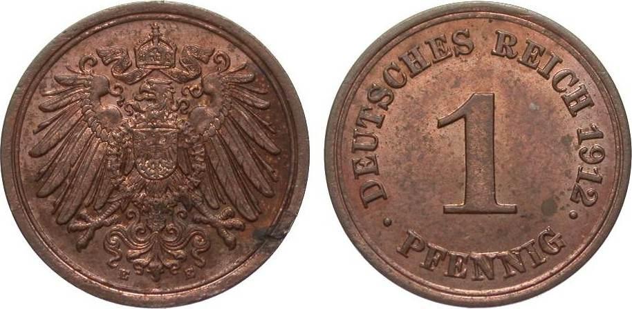 1 Pfennig 1912 E Kaiserreich fast Stempelglanz