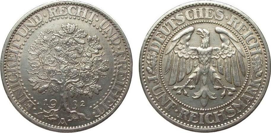 5 Mark Eichbaum 1932 A Weimarer Republik vorzüglich