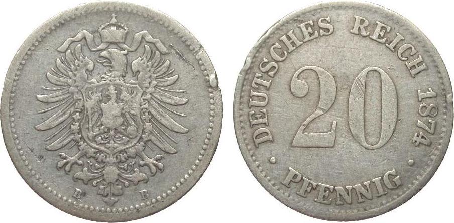 20 Pfennig 1874 B Kaiserreich schön / sehr schön