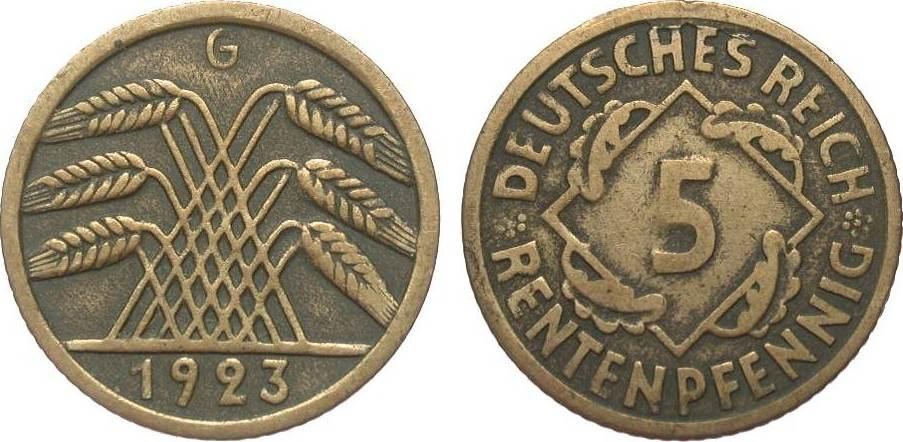 5 Rentenpfennig 1923 G Weimarer Republik sehr schön