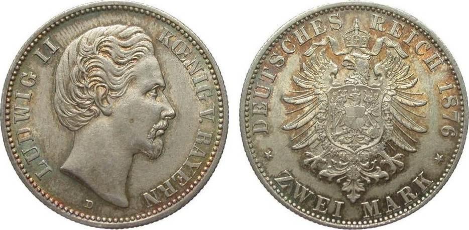 2 Mark Bayern 1876 D Kaiserreich gutes vorzüglich