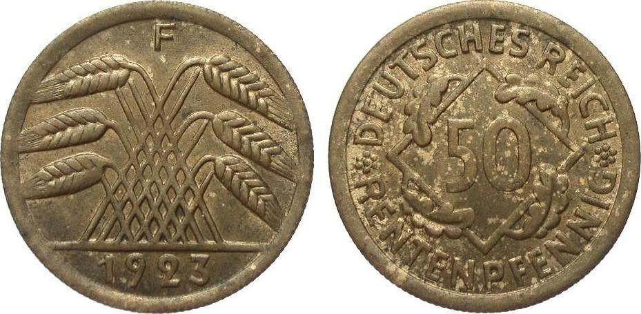 50 Rentenpfennig 1923 F Weimarer Republik fleckige Patina, vorzüglich / Stempelglanz