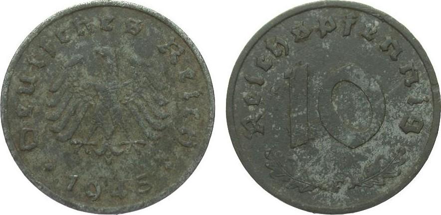 10 Pfennig 1945 F alliierte Besetzung sehr schön