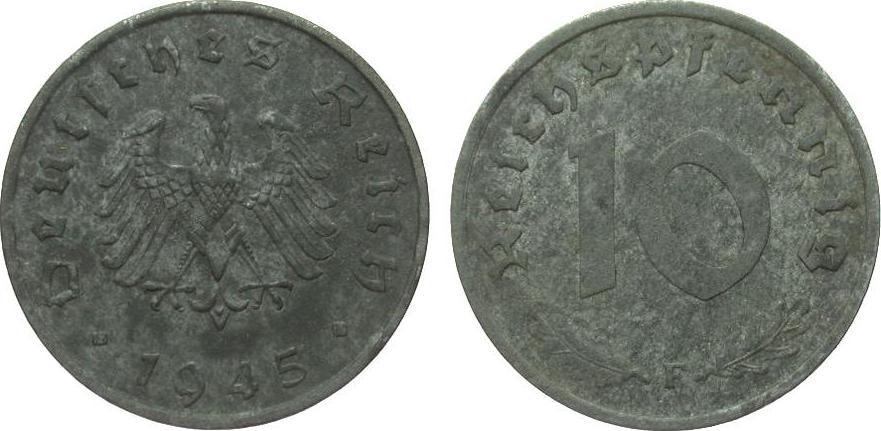 10 Pfennig 1945 F alliierte Besetzung gutes sehr schön