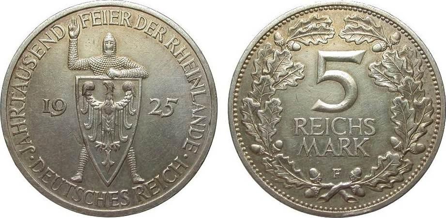 5 Mark Rheinlande 1925 F Weimarer Republik wz. Randfehler, knapp vorzüglich