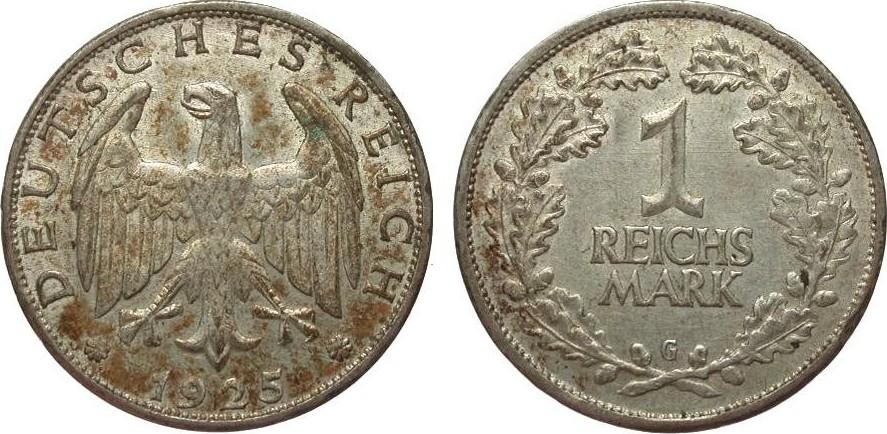 1 Mark 1925 G Weimarer Republik sehr schön / vorzüglich