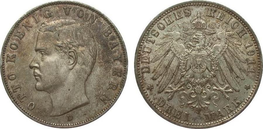 3 Mark Bayern 1911 D Kaiserreich sehr schön