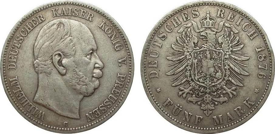 5 Mark Preussen 1876 C Kaiserreich knapp sehr schön