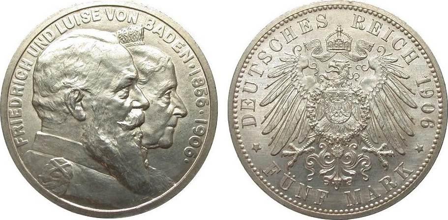 5 Mark Baden Goldene Hochzeit 1906 Kaiserreich wz. Kr. u. Rf., fast Stempelglanz