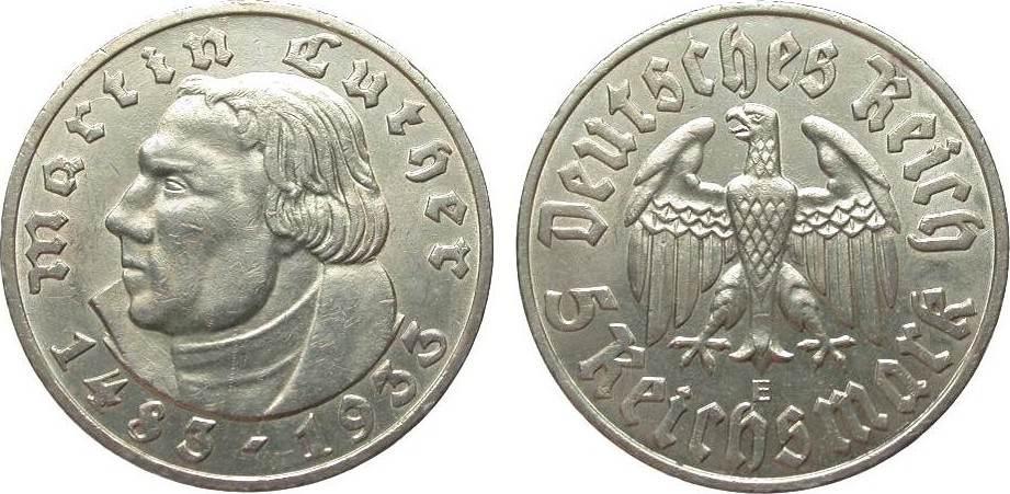 5 Mark Luther 1933 E Drittes Reich knapp vorzüglich / vorzüglich