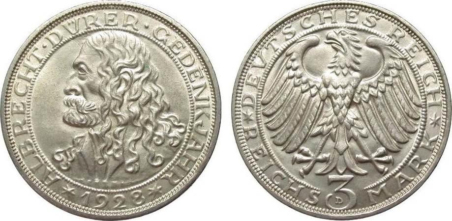 3 Mark Dürer 1928 D Weimarer Republik kl. Kratzer, vorzüglich / Stempelglanz