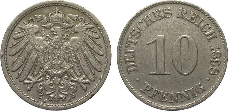 10 Pfennig 1898 J Kaiserreich kl. Randfehler, gutes sehr schön