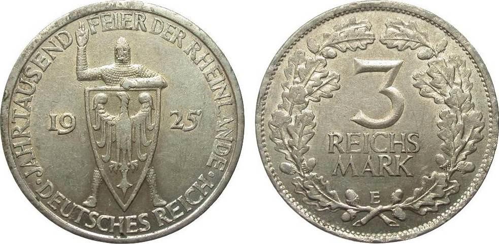 3 Mark Rheinlande 1925 E Weimarer Republik kl. Randfehler, sehr schön / vorzüglich