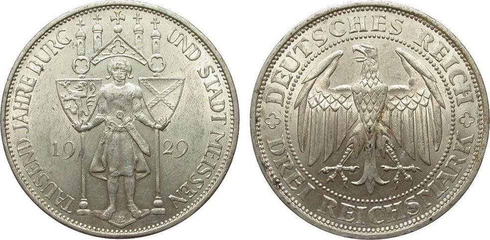 3 Mark Meissen 1929 E Weimarer Republik vz / vz+