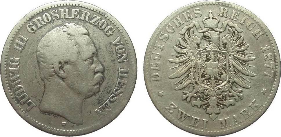 2 Mark Hessen 1877 H Kaiserreich s / s+