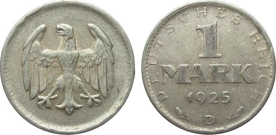 1 Mark 1925 D Weimarer Republik knapp sehr schön