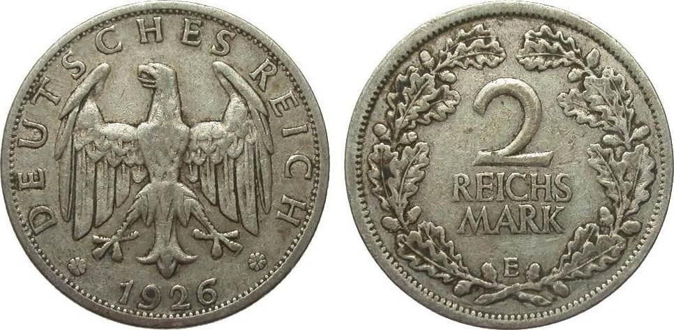 2 Mark 1926 E Weimarer Republik sehr schön
