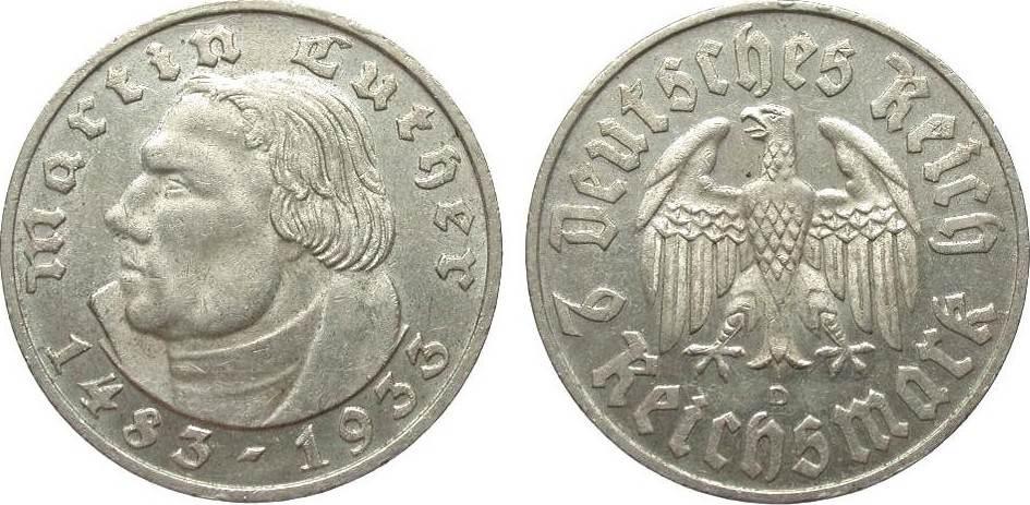2 Mark Luther 1933 D Drittes Reich vorzüglich