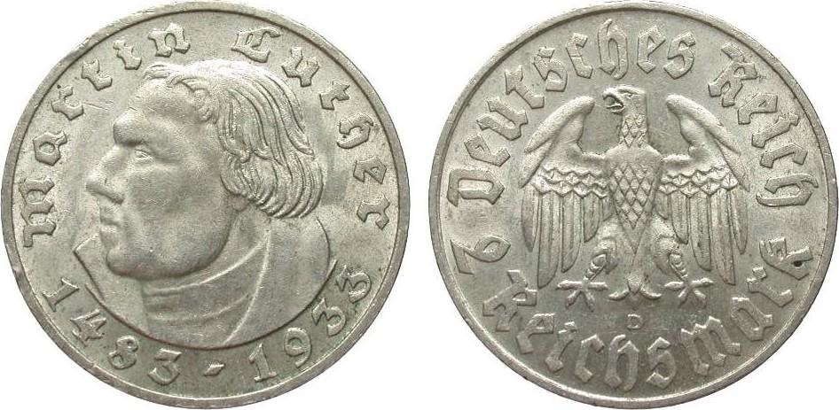 2 Mark Luther 1933 D Drittes Reich wz. Randfehler, vorzüglich