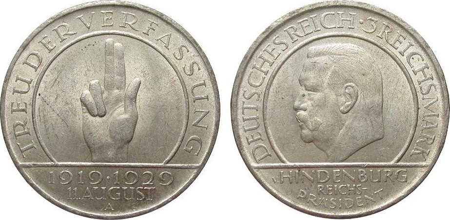 3 Mark Verfassung 1929 A Weimarer Republik fast vorzüglich / vorzüglich