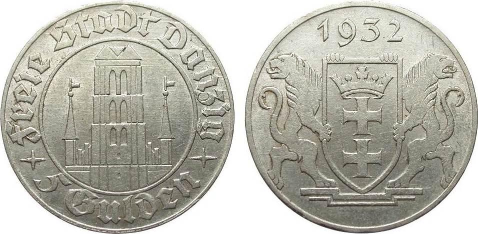5 Gulden Danzig 1932 Kolonien und Nebengebiete fast vorzüglich / vorzüglich