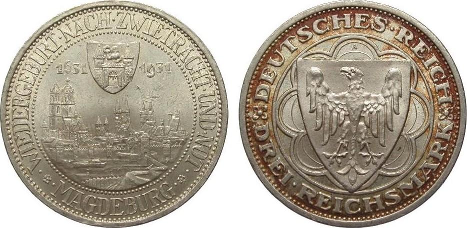3 Mark Magdeburg 1931 A Weimarer Republik kl. Kratzer im Feld, vz / St