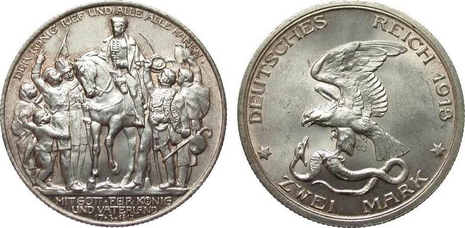 2 Mark Preussen Adler / Schlange 1913 Kaiserreich vorzüglich / Stempelglanz