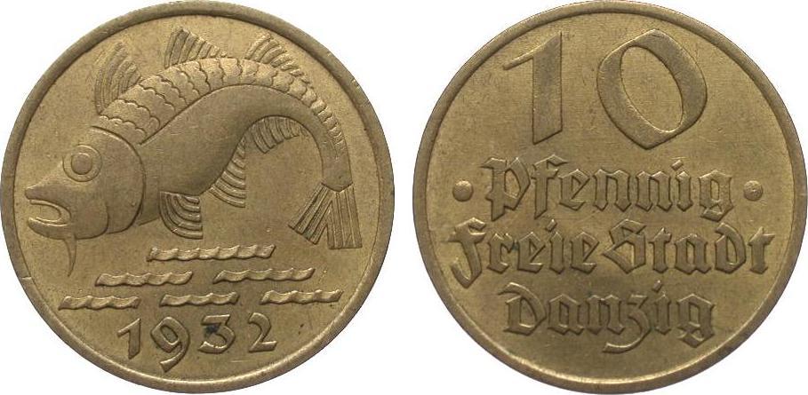 10 Pfennig Danzig 1932 Kolonien und Nebengebiete sehr schön / vorzüglich