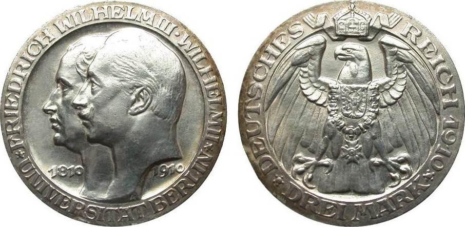 3 Mark Preussen Universität Berlin 1910 A Kaiserreich kl. Randfehler, vorzüglich / Stempelglanz
