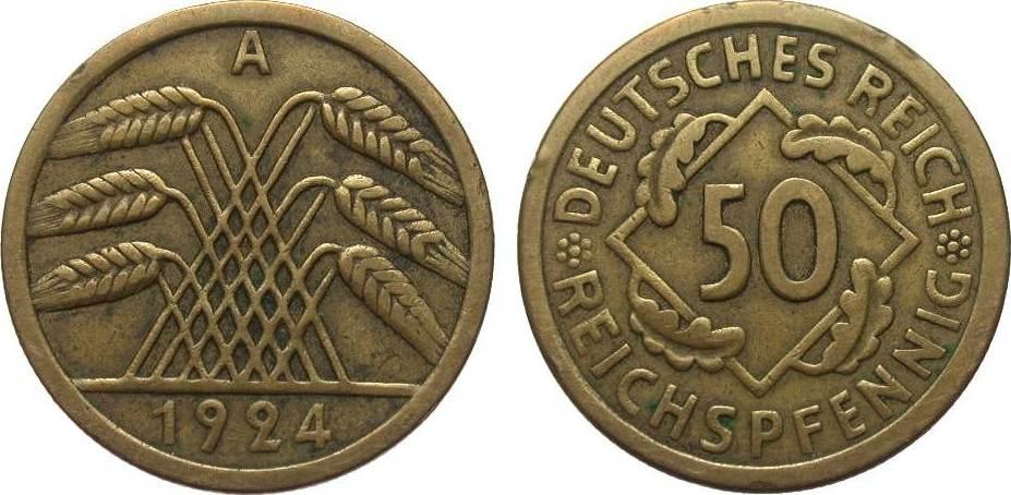 50 Reichspfennig 1924 A Weimarer Republik sehr schön
