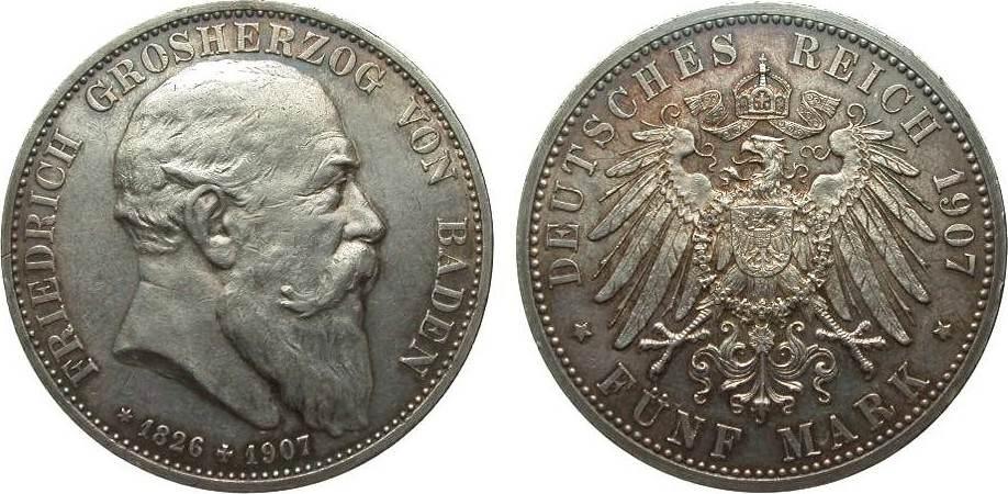 5 Mark Baden auf den Tod 1907 Kaiserreich kl. Rf., Bildseite vz, Adlerseite vz/St