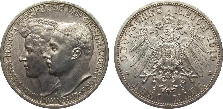 3 Mark Sachsen-Weimar-Eisenach 1910 A Kaiserreich min. Randfehler, vorzüglich / Stempelglanz