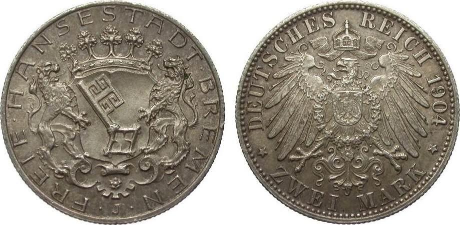 2 Mark Bremen 1904 J Kaiserreich wz. Randfehler, vorzüglich / Stempelglanz