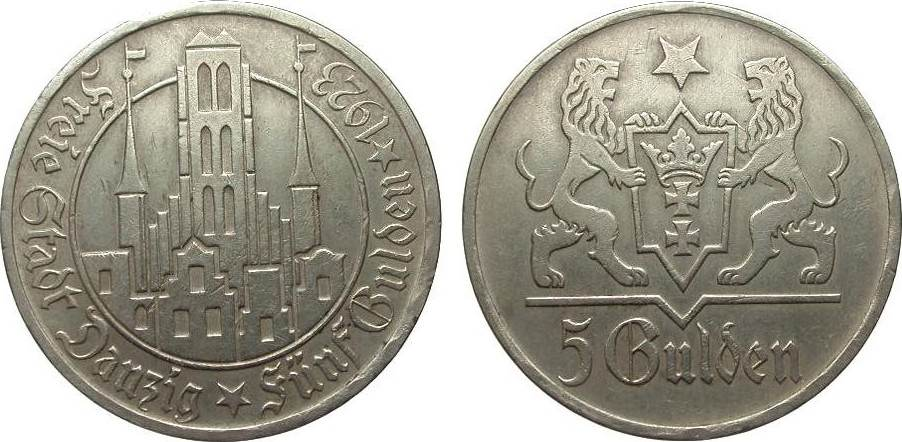 5 Gulden Danzig 1923 Kolonien und Nebengebiete wz. Randfehler, sehr schön / vorzüglich