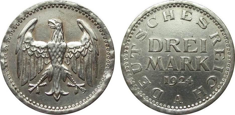 3 Mark Kursmünze 1924 A Weimarer Republik fast vorzüglich