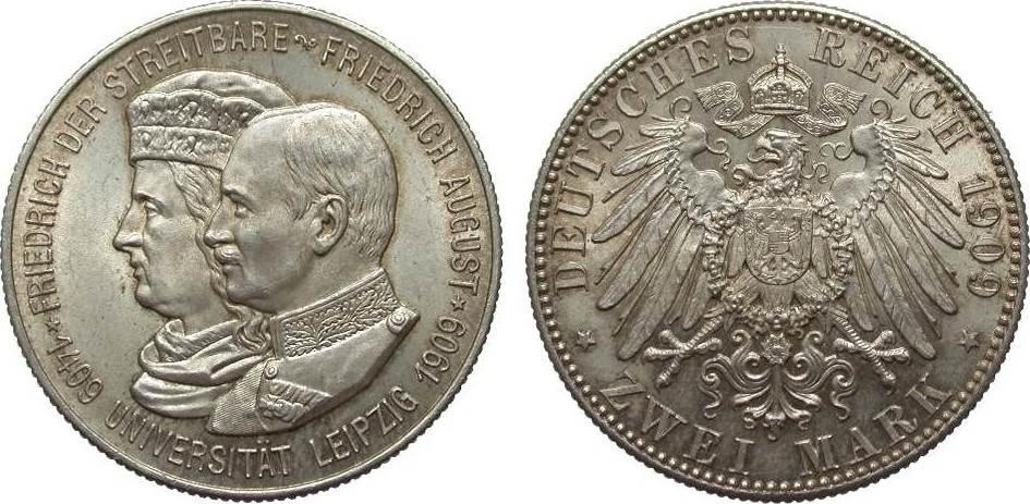 2 Mark Sachsen Universität Leipzig 1909 Kaiserreich fast Stempelglanz