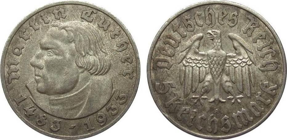 5 Mark Luther 1933 A Drittes Reich sehr schön / vorzüglich