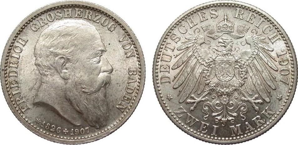 2 Mark Baden auf den Tod 1907 Kaiserreich fast Stempelglanz