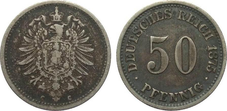 50 Pfennig 1875 C Kaiserreich fast sehr schön