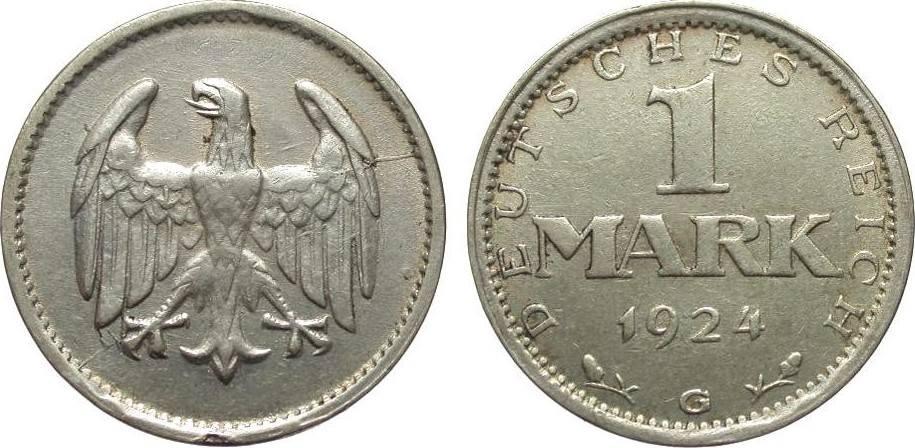 1 Mark 1924 G Weimarer Republik besser als sehr schön