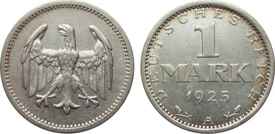1 Mark 1925 A Weimarer Republik besser als sehr schön