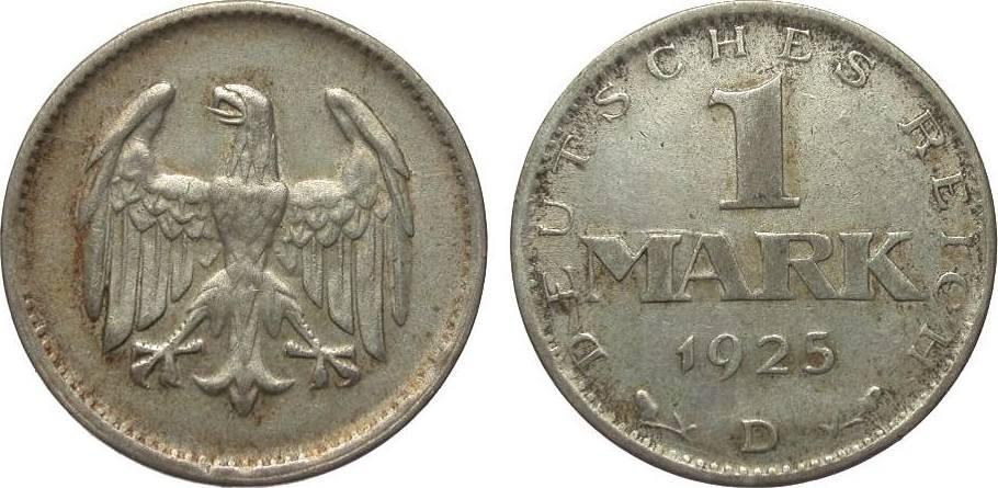 1 Mark 1925 D Weimarer Republik sehr schön