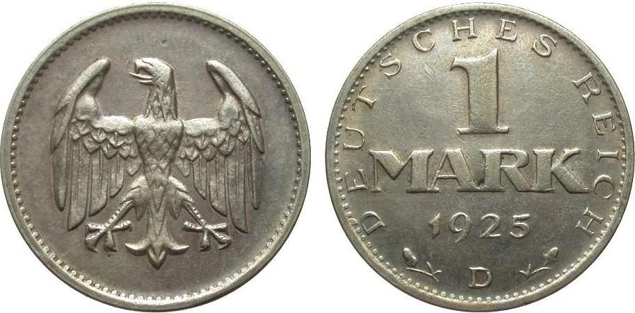 1 Mark 1925 D Weimarer Republik besser als sehr schön