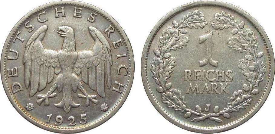 1 Mark 1925 J Weimarer Republik sehr schön