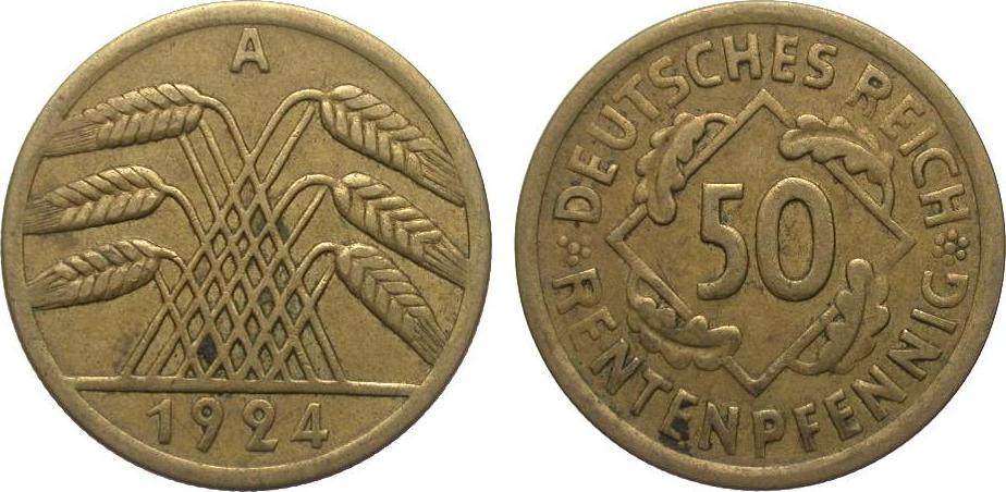 50 Rentenpfennig 1924 A Weimarer Republik gutes sehr schön
