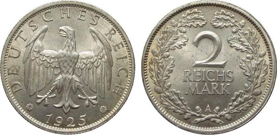 2 Mark 1925 A Weimarer Republik vorzüglich / Stempelglanz