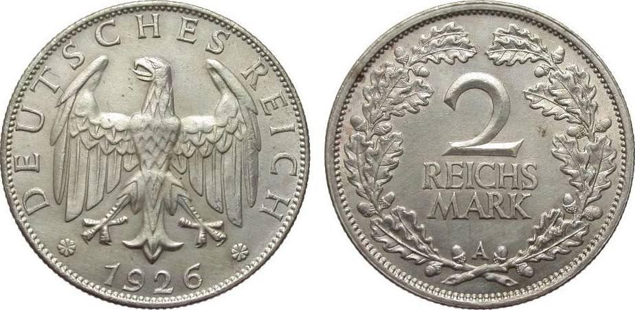 2 Mark 1926 A Weimarer Republik l. berieben, vorzüglich