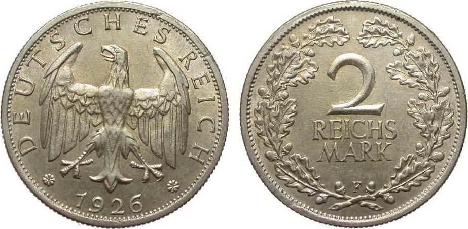2 Mark 1926 F Weimarer Republik vorzüglich