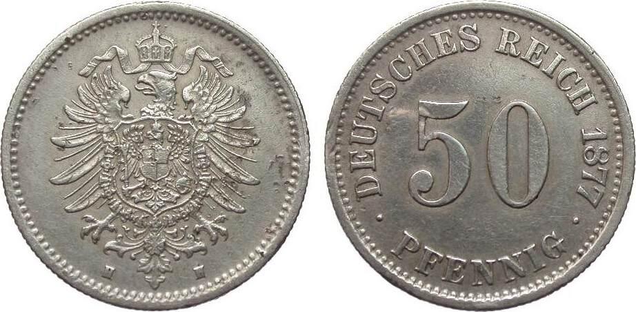 50 Pfennig 1877 H Kaiserreich wz. Druckstellen, besser als sehr schön